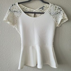Charlotte Russe Peplum lace Top - Size S